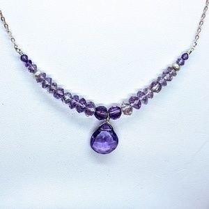 Amethyst, Freshwater Pearl & ster silver necklace